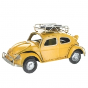 Wholesale Retro VW Style Beetle With Spare Wheels On Roof Rack - Yellow