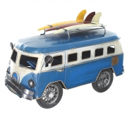 Wholesale Retro Shabby Chic Camper Van With Surfboards On Roof Rack- Blue