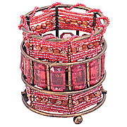 Wholesale Round Bead Tea Light Holder - Pink