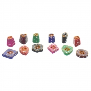 Set of 12 Colourful Resin Incense Holders