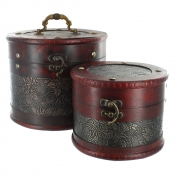 Round Flower And Leaf Design Wooden Boxes - Set of 2
