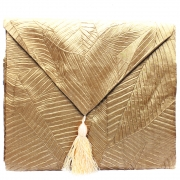 Silky Leaf Textured Table Runner - Gold