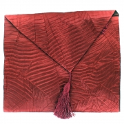 Silky Leaf Textured Table Runner - Red