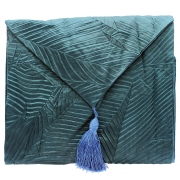 Silky Leaf Textured Table Runner - Teal