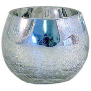 large silver crackle mirror tea light votive holder