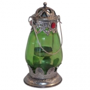 Small Indian Lantern- Green with Jewels
