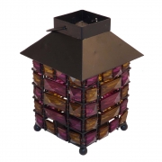 Square Beaded Tea Light Holder - Purple and Brown