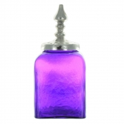 Square Decorative Glass Jar with Silver Coloured Lid - Purple