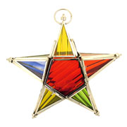 Star Hanging Tea Light Holder in Coloured Glass