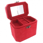 Faux Suede Oblong Jewellery Box - Bright Red