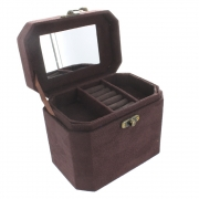 Faux Suede Oblong Jewellery Box - Brown