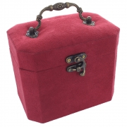 Faux Suede Oblong Jewellery Box - Red