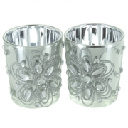 Set of 2 Jewel/Flower Silver Tea Light Holders