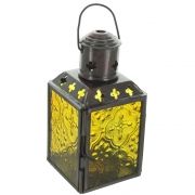 Small Tea Light Lantern With Yellow Patterned Glass