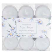 Temptations Pack of 9 Tea Lights- Fresh Linen