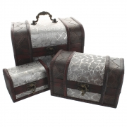 Set of 3 Treasure Chests with Silvery Design