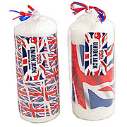 Wholesale Union Jack Pillar Candle - Medium