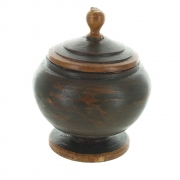 Wholesale Round Distressed Wooden Urn Style Pot With Lid - Green