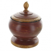 Wholesale Round Distressed Wooden Urn Style Pot With Lid - Red