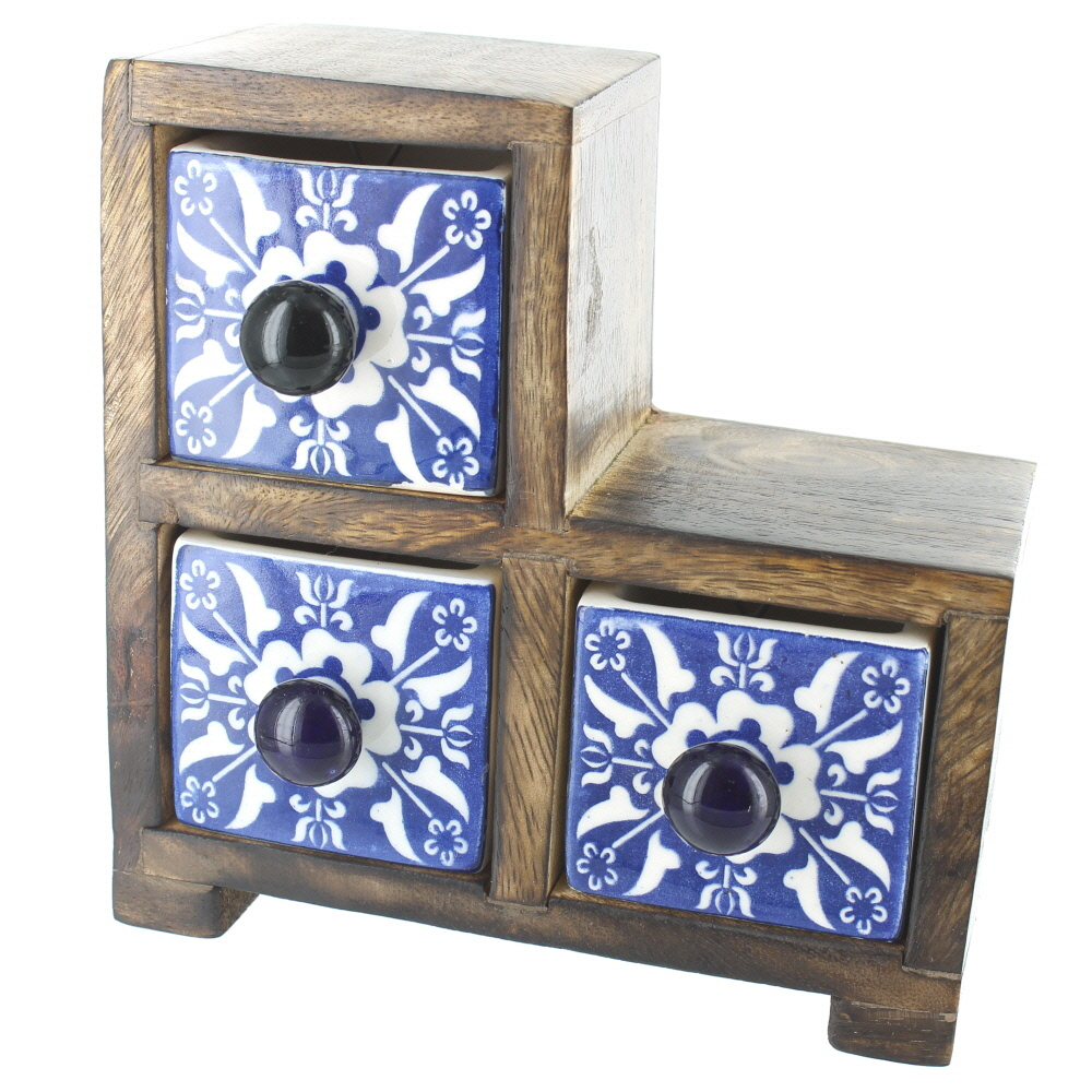 Small L Shaped 3 Drawer Wood And Ceramic Chest Blue