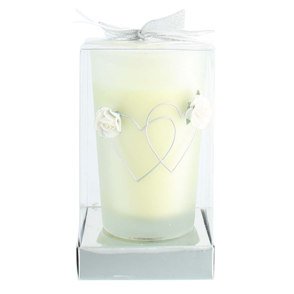 Wholesale Hearts Entwined Ivory Candle In Glass