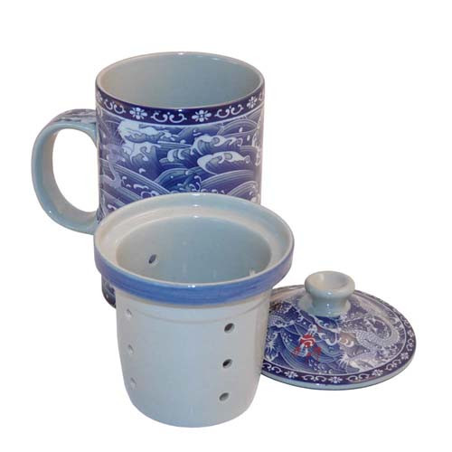 Wholesale Mug With Lid And Strainer Blue Dragon
